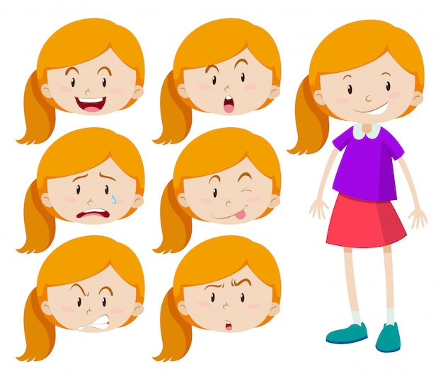 Girl with different expressions Free Vector