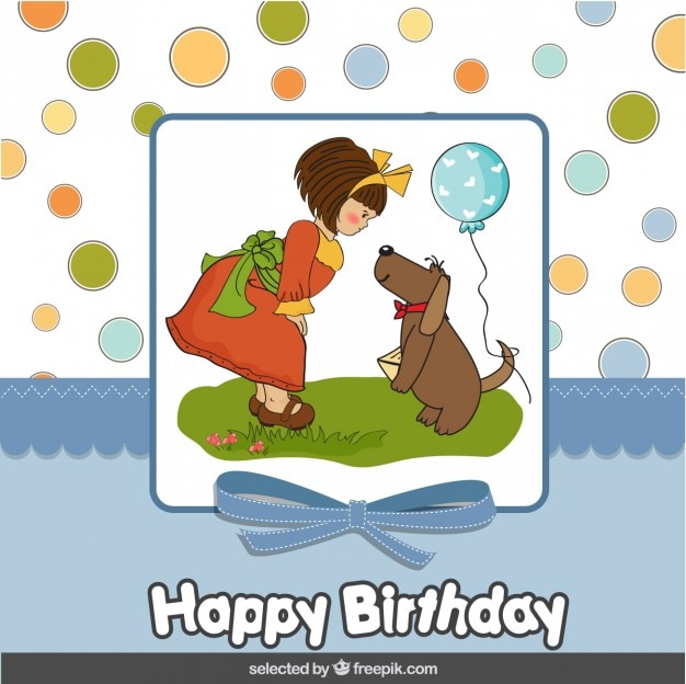Girl With Dog Birthday Card Vector Free Download