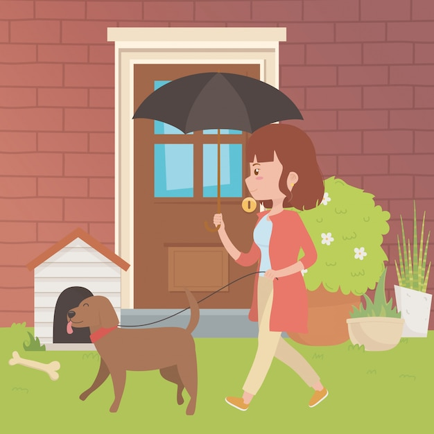 Girl with dog cartoon design Free Vector