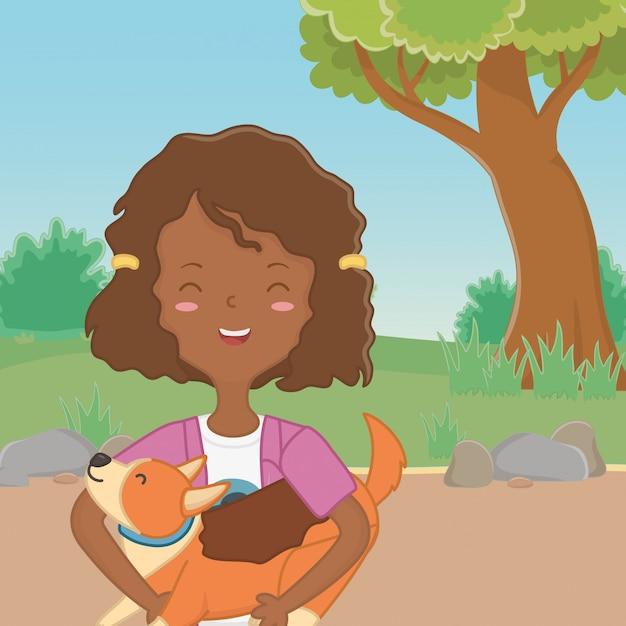 Girl with dog cartoon design Free Vector