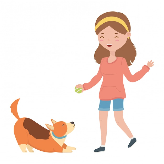 Girl with dog cartoon Free Vector