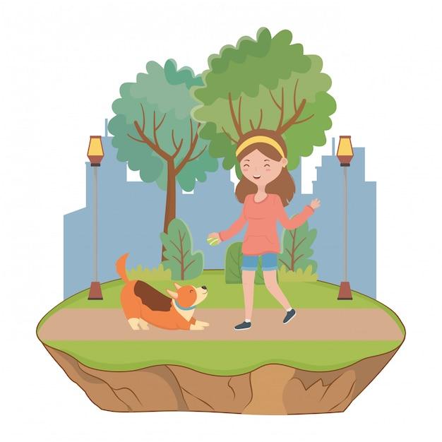 Girl with dog cartoon Free Vector