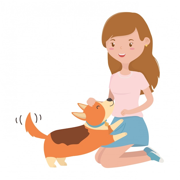 Girl with dog of cartoon Free Vector