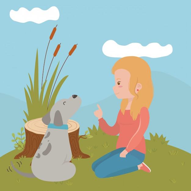 Girl with dog of cartoon Free Vector