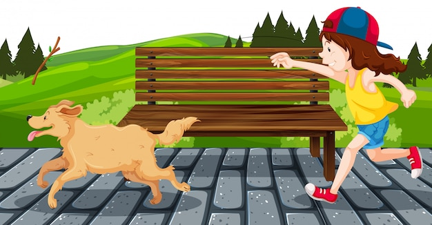 Girl with dog in the park Free Vector