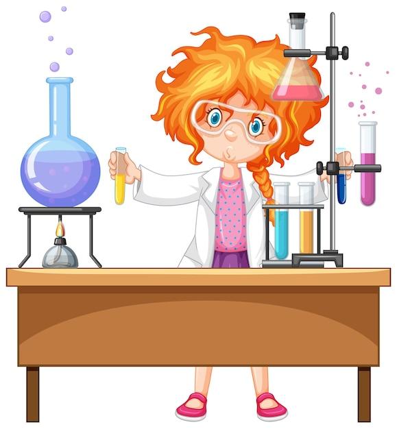 Девушка с предметами для эксперимента Бесплатные векторы