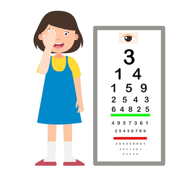 Girl with eye chart test diagnostic vector illustration Premium Vector