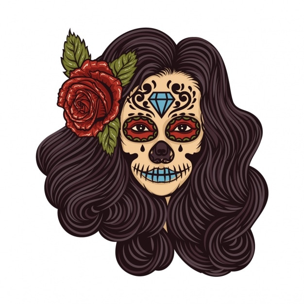 Girl with flower in her hair vintage tattoo Free Vector