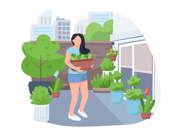 Girl with flowerpot 2d vector web banner, poster. woman with houseplants, female florist flat character on cartoon background. street gardening, yard greening printable patches, colorful web elements Premium Vector
