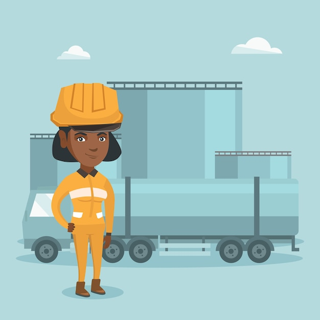 Girl with fuel truck and oil plant Premium Vector