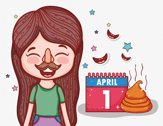 Girl with funny mask to april fools day Premium Vector