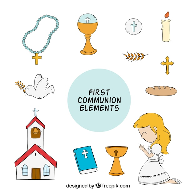 Girl with hand drawn first communion elements Free Vector