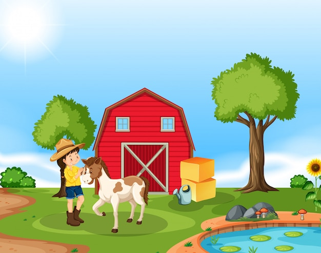 Girl with horse scene Free Vector