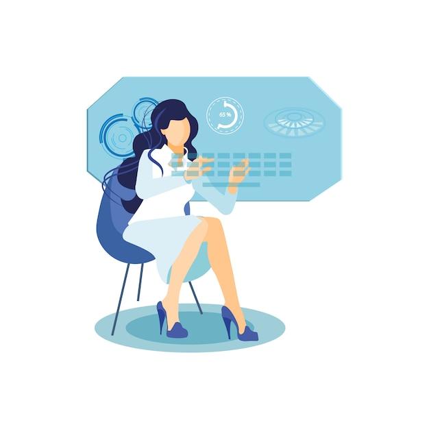 Girl with interactive display flat illustration Premium Vector
