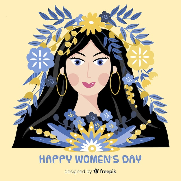 Girl with leaves in the hair women's day background Free Vector