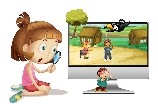 Girl with magnifying glass next to computer Free Vector