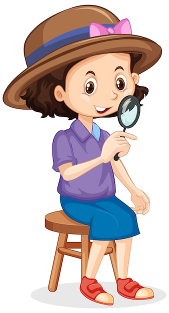 Girl with magnifying glass on isolated Free Vector