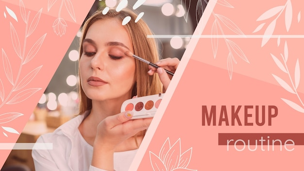 Girl with make up tutorial youtube thumbnail Free Vector