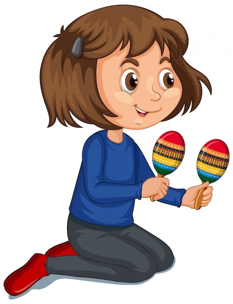Girl with maracas on isolated background Free Vector