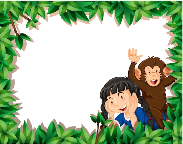 Girl with monkey on nature frame background with  copyspace Free Vector