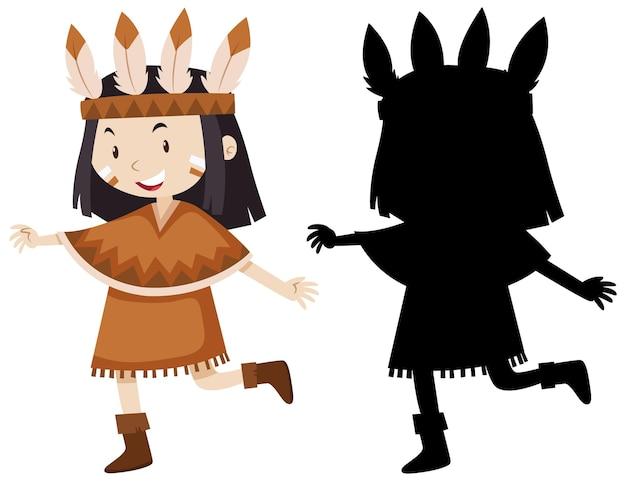 色と輪郭とシルエットのネイティブアメリカンインディアンの衣装を持つ少女 無料ベクター