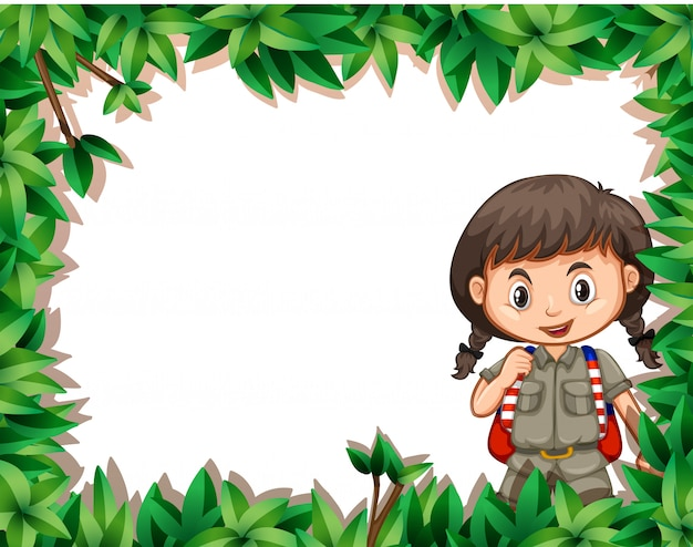 Girl with nature frame Free Vector