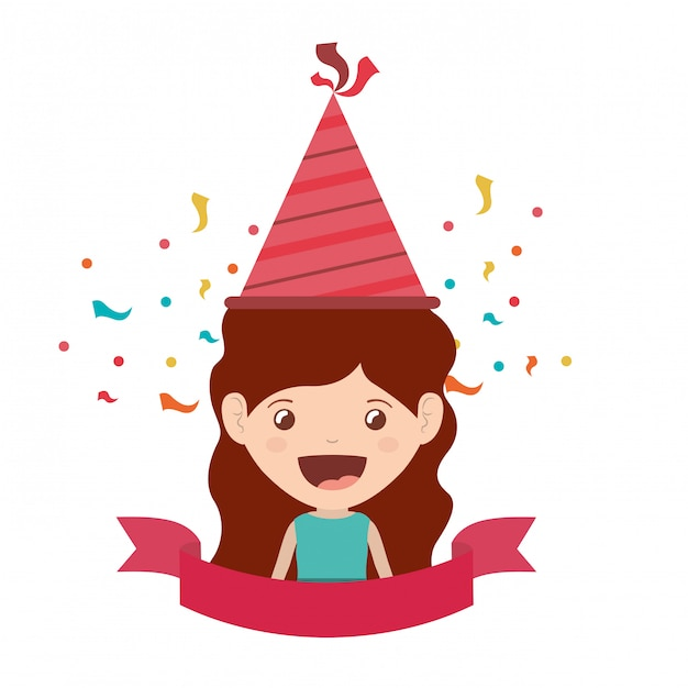 Girl with party hat in birthday celebration Premium Vector