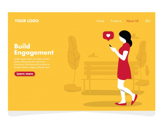 Girl with phone illustration for landing page Premium Vector