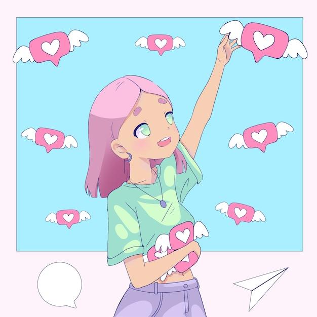 Ragazza con i capelli rosa che sono dipendenti dai social media Vettore gratuito