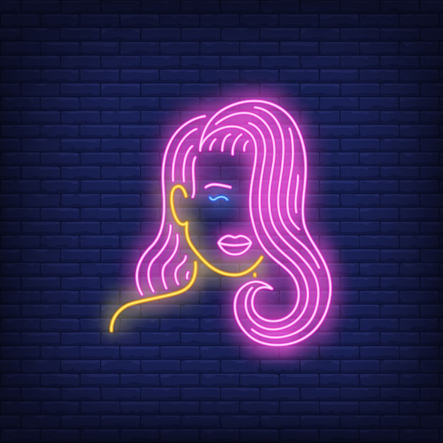 Girl with pink hair neon sign Free Vector