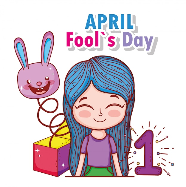 Girl with rabbit box and fools day Premium Vector