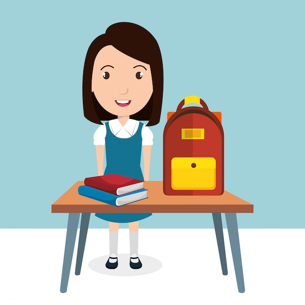 Girl with school supplies Free Vector