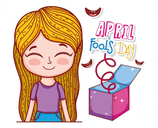 Girl with smiles and fools day box Premium Vector
