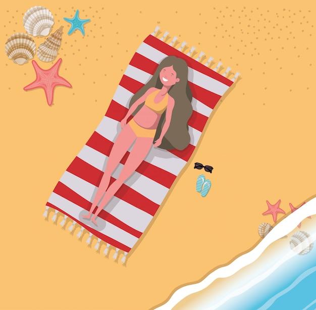Girl with summer swimwear design Premium Vector