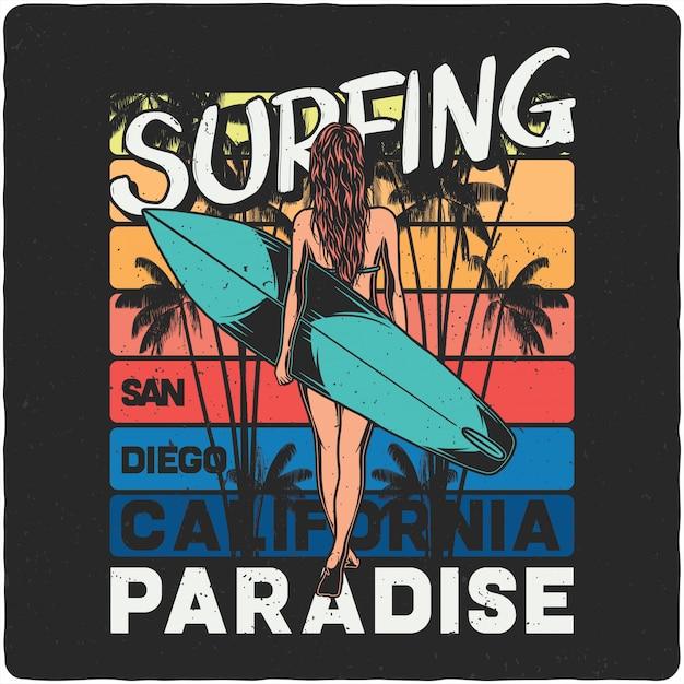 サーフィンボードを持つ少女 Premiumベクター