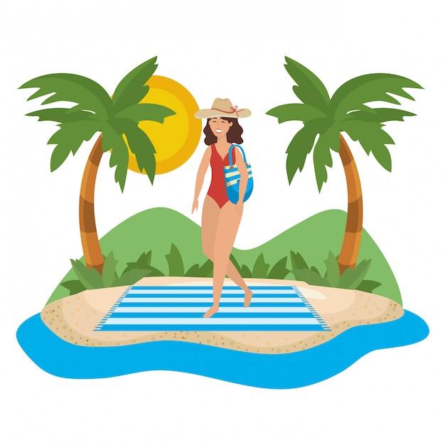 Girl with swim wear Premium Vector