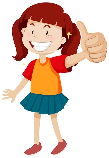 A girl with thumb up posing in happy mood isolated Free Vector
