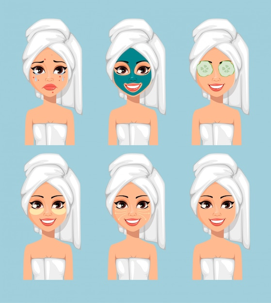 Girl with a towel on her head Premium Vector