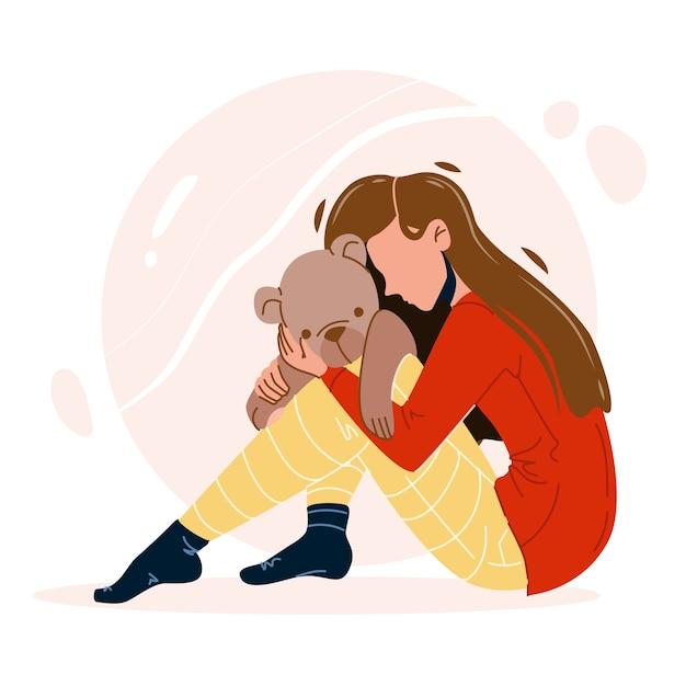 Девушка с травмой обнимает игрушку-мишку Premium векторы