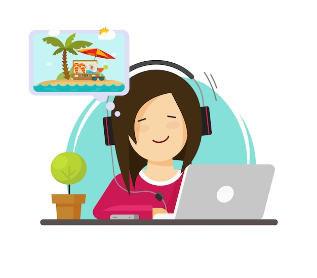 Girl working on computer and dreaming of summer adventure or vocation travelling flat cartoon design Premium Vector