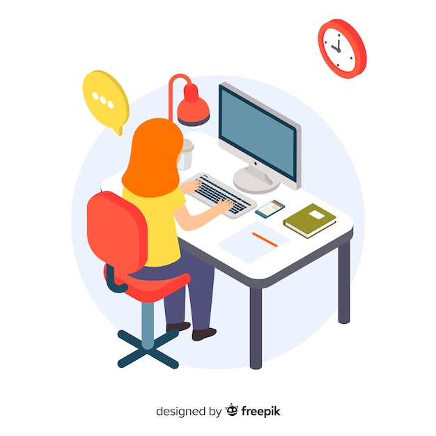 Girl working at the office isometric background Free Vector