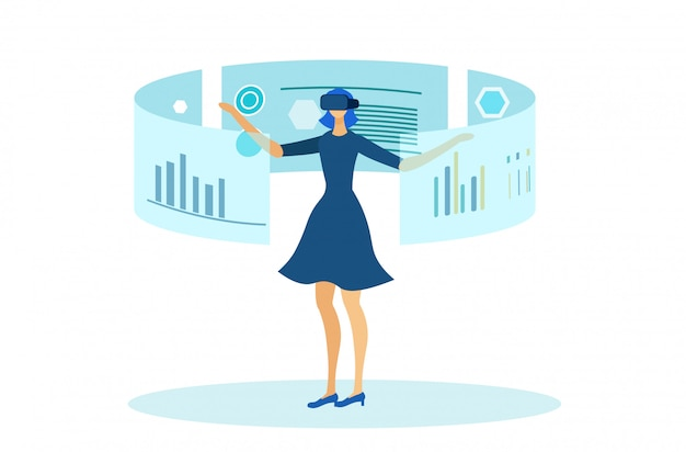 Girl working with augmented reality interface. Premium Vector