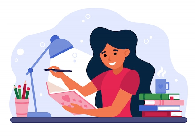 Girl writing in journal or diary Free Vector