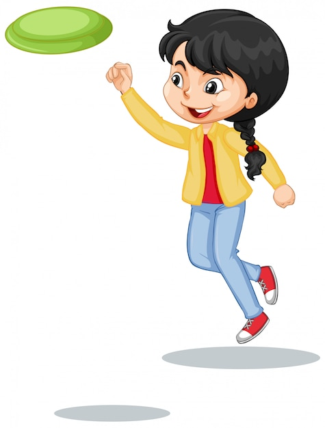 Girl in yellow jacket playing frisbee on white Free Vector