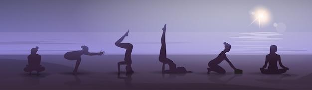 Girl yoga position set Premium Vector
