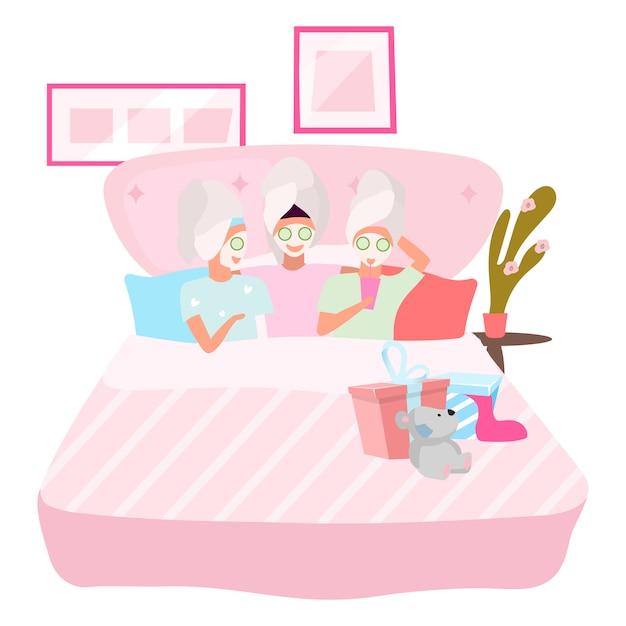 顔のマスクのイラストを適用するガールフレンド。眠り、外泊パーティーのコンセプトです。パジャマの漫画のキャラクターで一緒に寝ている女性の親友。若い女性、ティーンエイジャー、学生 Premiumベクター