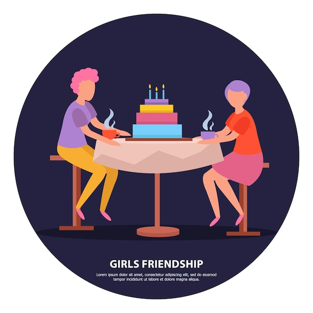 Celebrazione della notte della festa di compleanno delle amiche Vettore gratuito