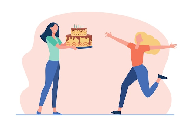 Girlfriends celebrating birthday. cheerful girl getting huge cake with candles. cartoon illustration Free Vector