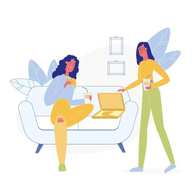 Girlfriends eating junk food flat illustration Premium Vector