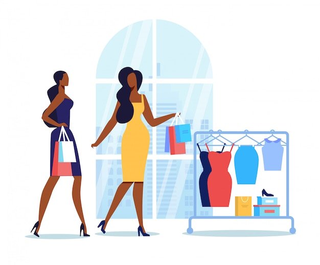 Girlfriends go shopping flat Premium Vector